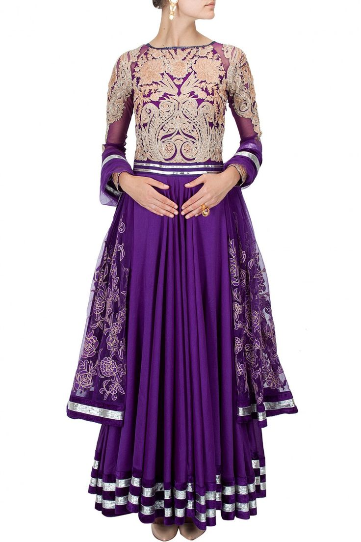 Purple thread embroidered anarkali set BY VARUN BAHL. Shop now at perniaspopupshop.com #perniaspopupshop #clothes #womensfashion #love #indiandesigner #jade #happyshopping #sexy #chic #fabulous #PerniasPopUpShop #ethnic #indian #varunbahl