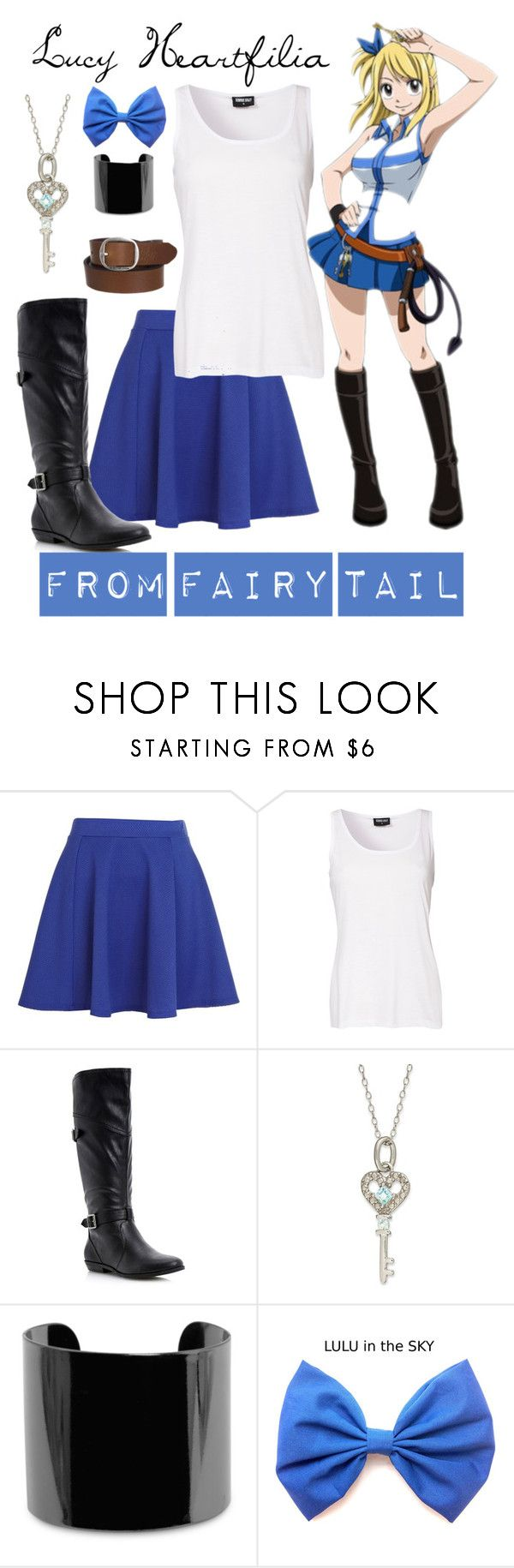 """[Fairy Tail] Lucy Heartfilia"" by khalsei ❤ liked on Polyvore featuring River Island, Sally&Circle, Head Over Heels by Dune, Victoria Townsend, MANGO and G-Star Raw"