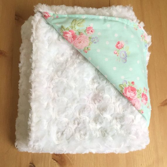 Girl's Baby Blanket, Shabby Chic Blanket with Faux Fur Backing, Pink Mint Floral Blanket by BizyBelle