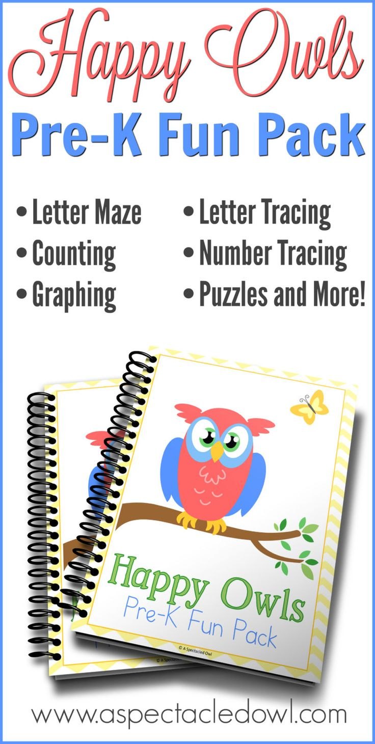Happy Owls Pre-K Fun Pack - Homeschool for Free Series - A Spectacled Owl