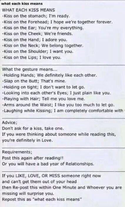What each kiss means