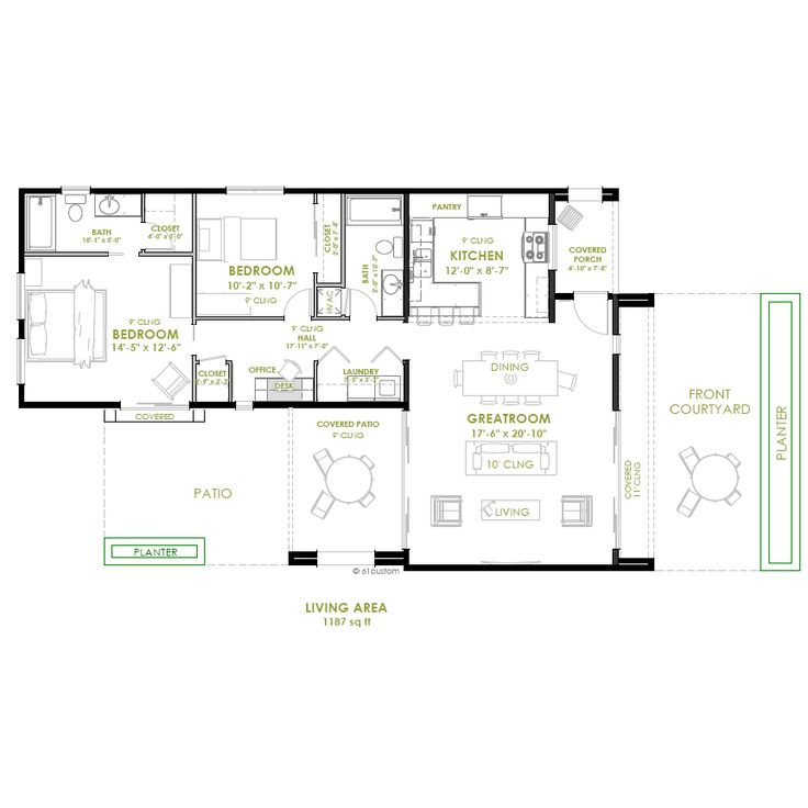 Modern 2 bedroom house plan bedrooms modern and house for House plans with 6 bedrooms