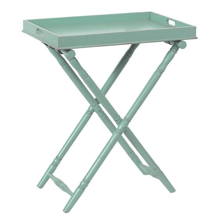 Turquoise Devon Butler Beach Style Folding Tray Table