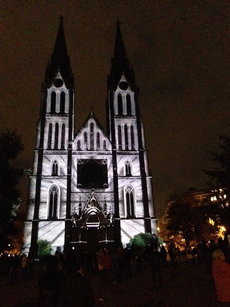 Khora by The Macula, test, St. Ludmila Church, Namesti Miru, Prague #signalfestival #architecture #prague #lightart, #installation #videomapping www.signalfestival.com