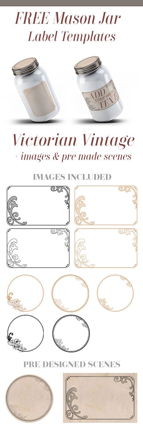 Download this free vintage victorian mason jar label kit.  Each zip file comes with several black and gold borders, circle borders and two vintage papers to choose from.  #vintage #mason #jar #victorian #free #printable #download #editable #masonjar #freebie #printables #wedding #favors #jars #gifts