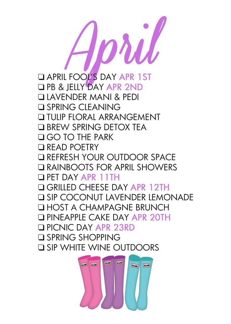 Paper & Glam - April Life List