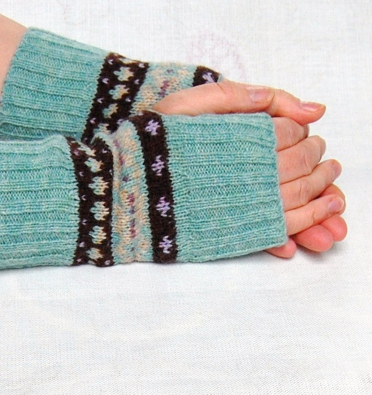 Knitted Fingerless Gloves Fair Isle Duck Egg Blue Chocolate Brown Lilac