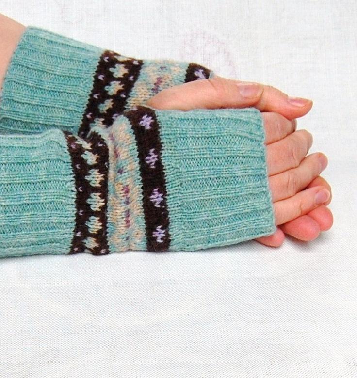 Knitted Fingerless Gloves Fair Isle Duck Egg Blue Chocolate Brown Lilac