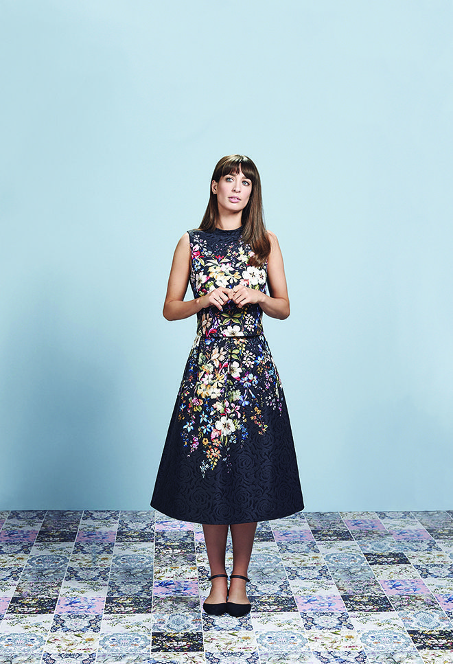 Laura Jackson wears The V&A Collection midi skirt co-ord.