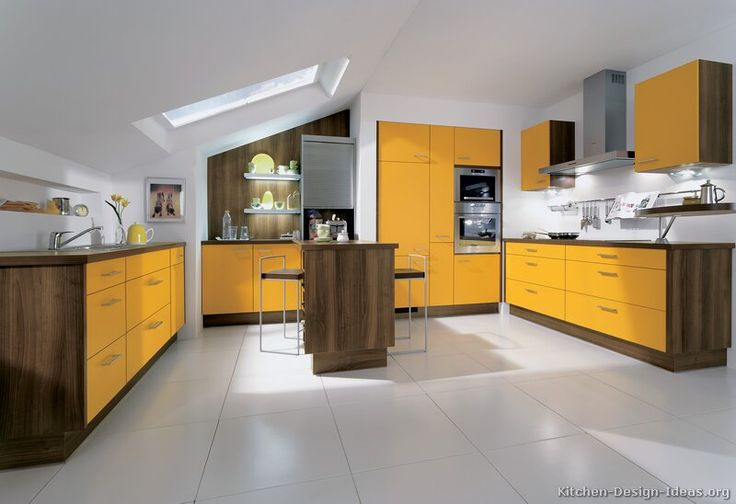 118 best yellow kitchens images on pinterest yellow for Modern yellow kitchen cabinets