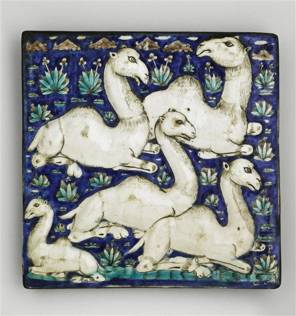 """Tile from the panel """"The Marvels of Creation"""" from the Louvre."""