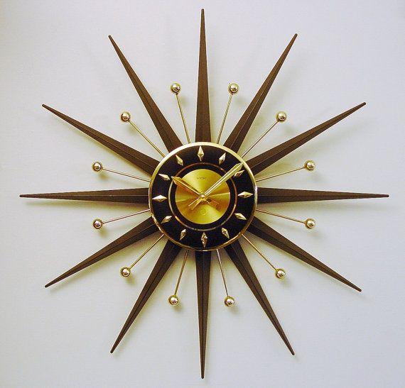 Starburst Clock. Uber Cool Mid-Century Modern by ClubModerne