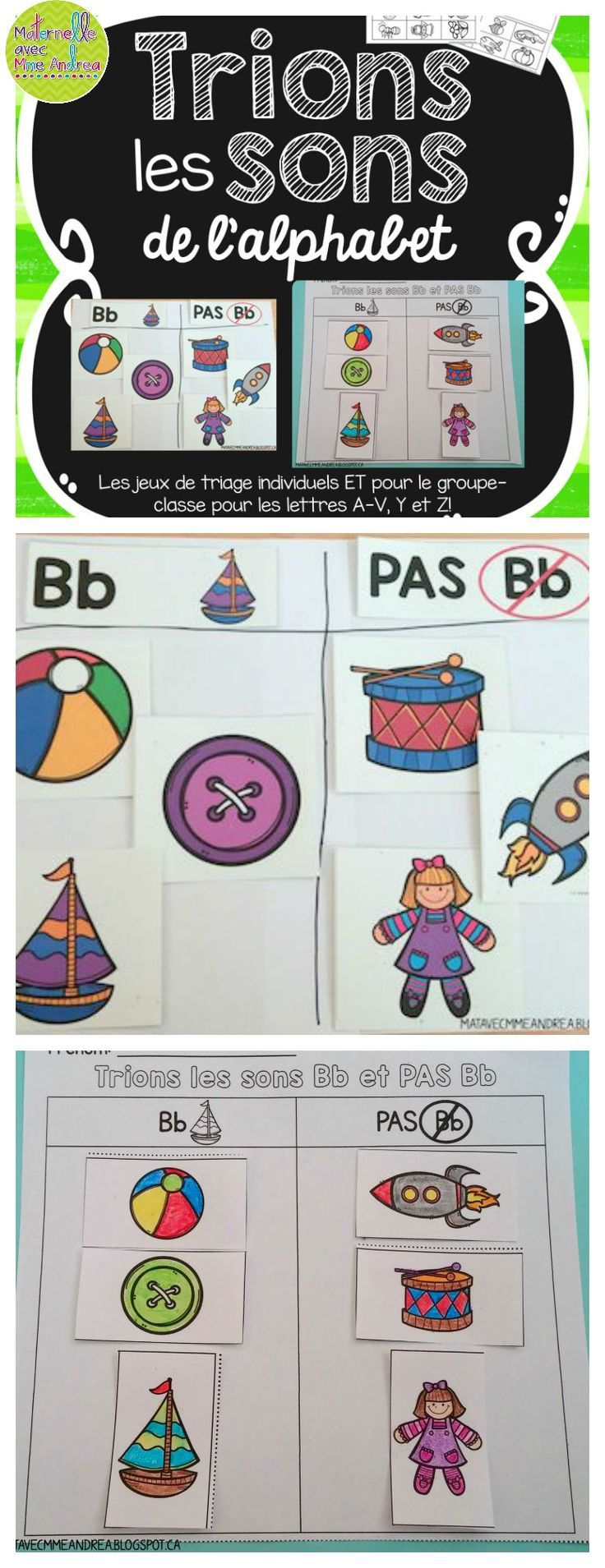 FRENCH Alphabet sorts - get your students working on their conscience phonologique skills by having them listen for and sort by beginning sounds! Includes whole group and individual sorts for each letter of the alphabet (except W and X)