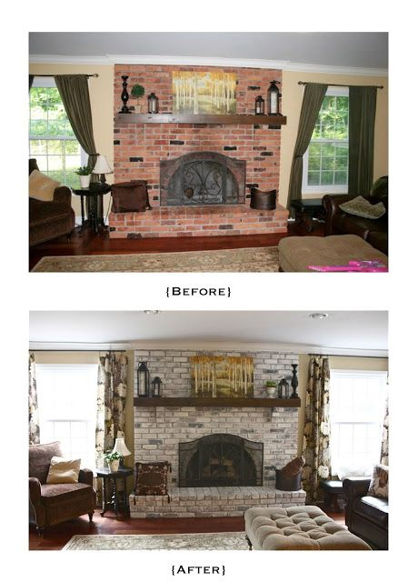 White Washed Brick Fireplace~Tutorial. SHow this to dad.  It is a great before and after of a washed brick fireplace--not painted entirely, so that some of the color comes thru.  I would help you do this!  Then I would have someone wrap the cement mantel in wood to make it look like a stained wood mantel.