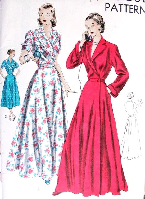 1940s GLAMOROUS House Coat Robe Pattern Vogue 6241 Circular Flared Skirt Hostess Gown Bust 32 Vintage Sewing Pattern
