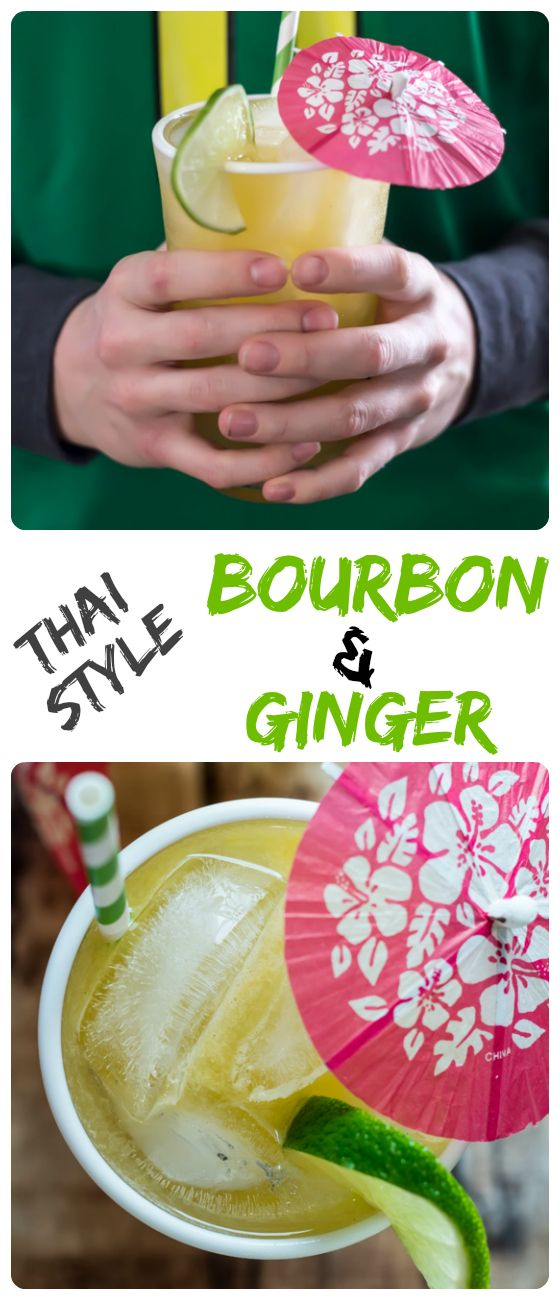 Infused gin, citrus juice, and ginger beer give this bourbon cocktail a Thai kick!