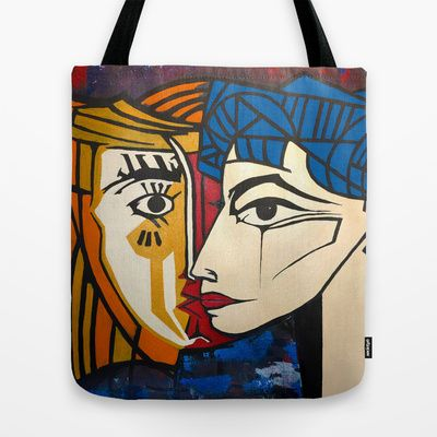 Jacqueline Tote Bag by Bruce Stanfield - $22.00 Picasso's 2nd wife, he romanced for 6 months to get a date, painting her for years sometimes on a daily basis, This is a social commentary piece combining my hand painted interpretation of 2 famous works of his against an abstract background of my own. combing 2 very different pieces and styles some time apart into what some say is a haunting emotion laden image. The original was sold at the BBCM Montreal Live art interactive event this year