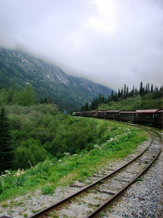 I took this train to Whitehorse, Yukon, Canada. :] Great scenery. Take this train to Whitehorse Stay and get material for book