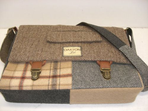 made from recycled suits, this messenger bag is perfect for menswear enthusiasts