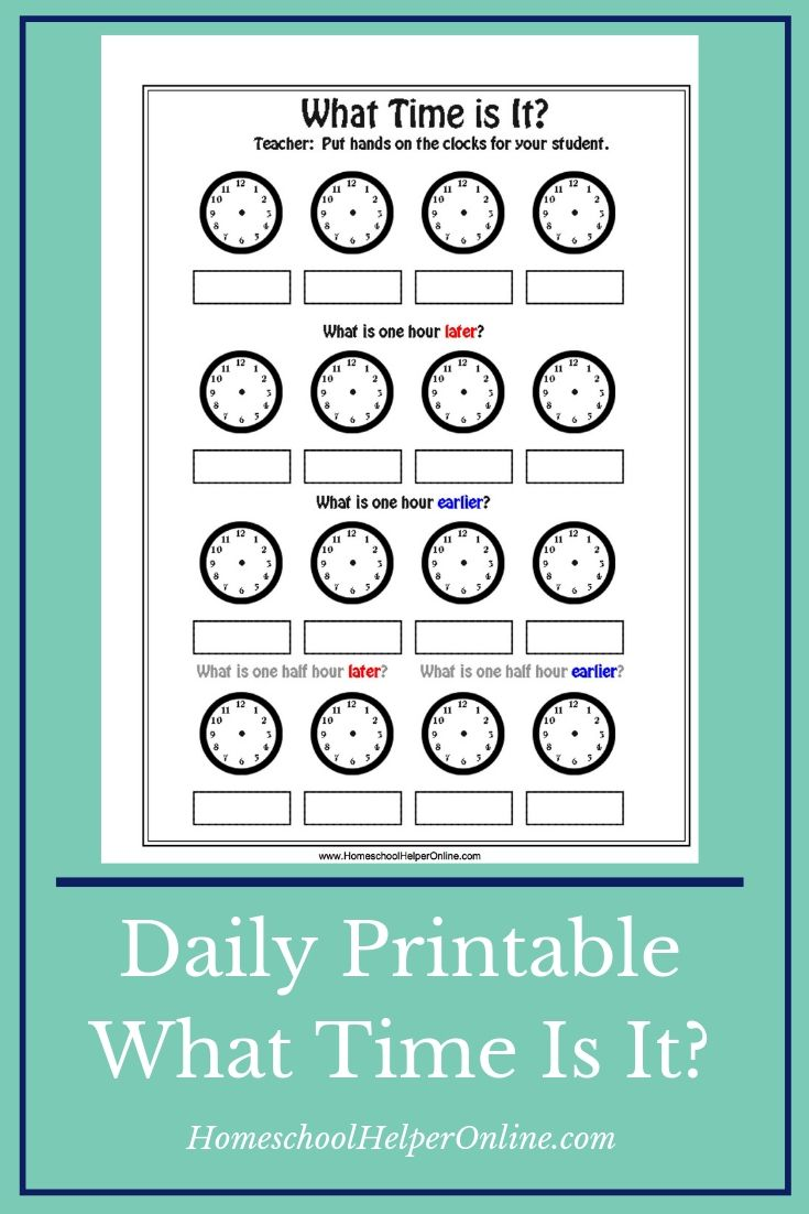What Time Is It Free Printable Worksheet Make It Different Every Time You Can Draw The Free Homeschool Printables Time Worksheets Middle School Lesson Plans