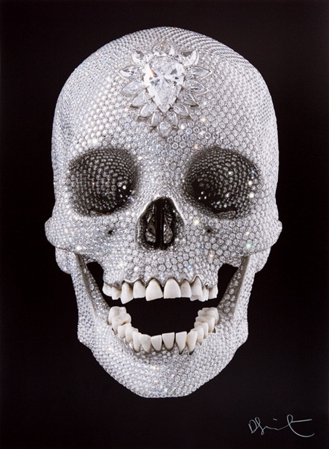 """""""For The Love of God""""  is a Skull sculpture by artist Damien Hirst. Going price ;  £ 50 million"""