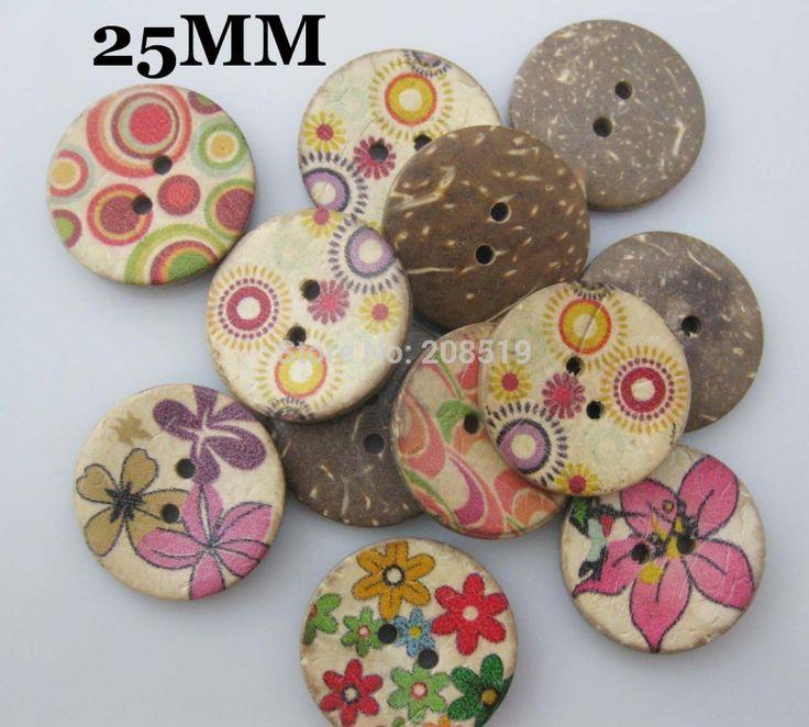 WBNVGS 50 pz Misto Grandi bottoni di cocco 25mm Stampato fiore di legno accessori tasto dell'indumento(China (Mainland))