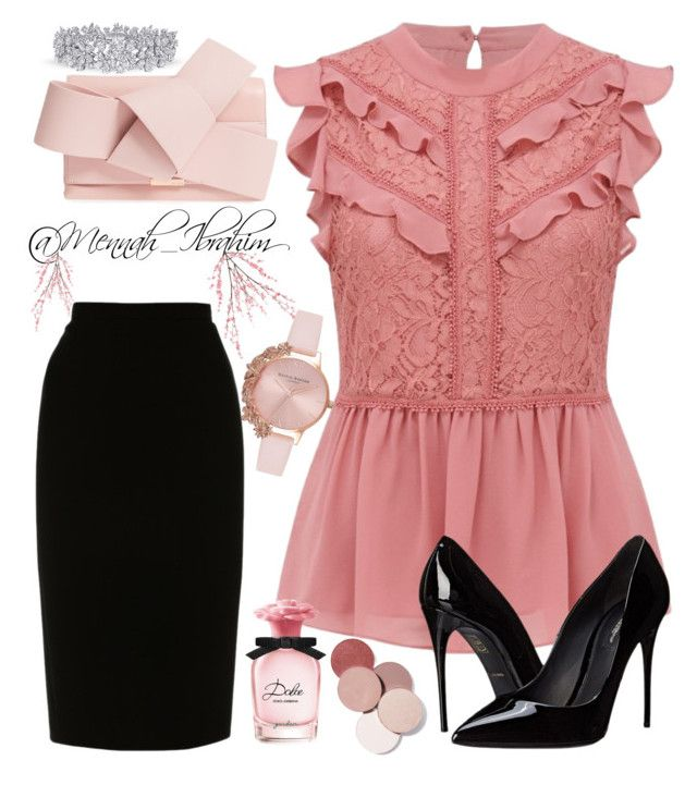 """""""#Formal #Lace #feminine"""" by mennah-ibrahim on Polyvore featuring Ted Baker, L.K.Bennett, Pier 1 Imports, Olivia Burton, Dolce&Gabbana and LunatiCK Cosmetic Labs"""