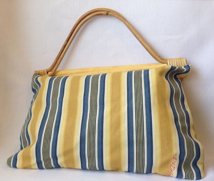 Blue and Yellow Stripe Handbag by ByDebz on Etsy