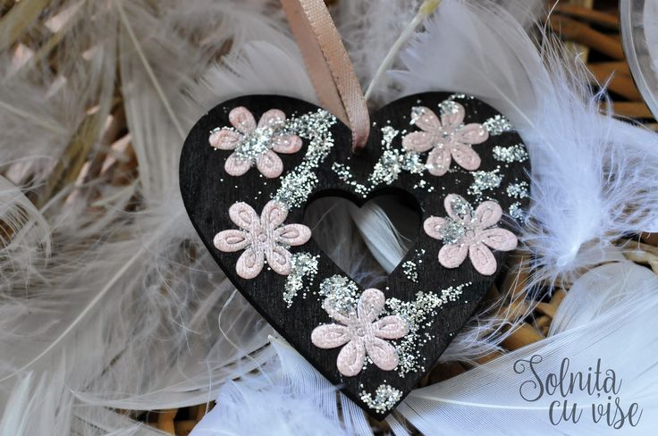 Mini heart with silver glitter | Wood