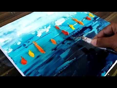 Cool abstract painting / Colorful sailboats / Easy to make / Acrylic paints / Project 365 days / Day No. 0159 / Demonstration – YouTube