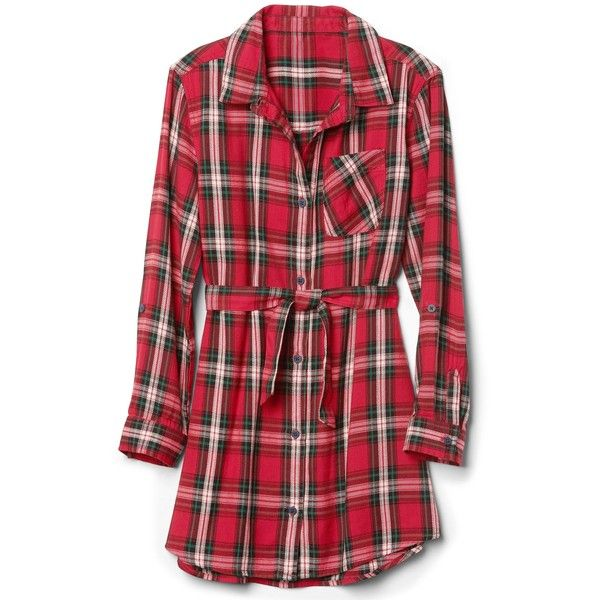 Plaid twill long sleeve shirtdress ($41) ❤ liked on Polyvore featuring dresses, long sleeve plaid dress, long-sleeve shirt dresses, red dress, plaid dresses and longsleeve dress