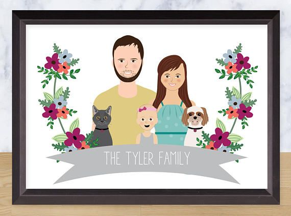 Illustrated family portrait custom couple drawing pets