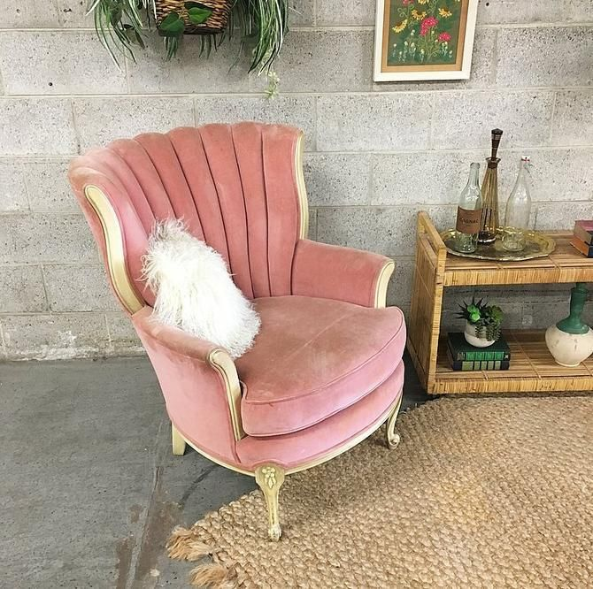 Local Pickup Only Vintage Velvet Chair Retro 1960 S Pink Tufted Lounge Chair With Carved Wood Flower Frame And Scroll Feet For Living Room By Retrospectvintage2 Vintage Velvet Chairs Retro Chair Living #upholstered #living #room #swivel #chairs