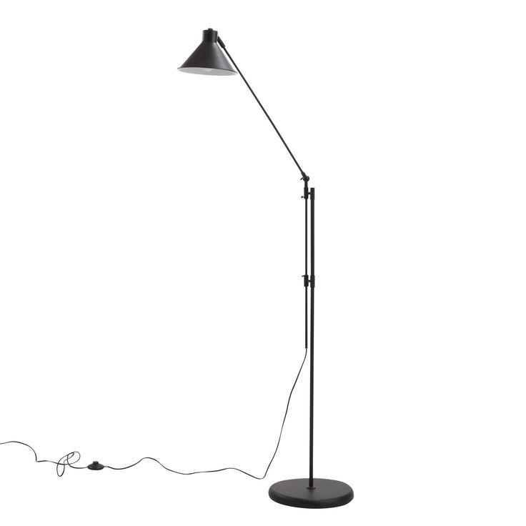 Pedro - Lampadaires-Luminaires Lampadaire en métal noir H195cm