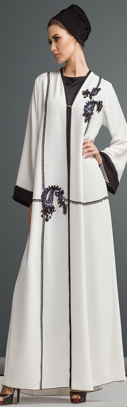 Hijab Fashion 2016/2017: Black and White Stylish Abaya..Mauzan abaya dubai  Hijab Fashion 2016/2017: Sélection de looks tendances spécial voilées Look Descreption Black and White Stylish Abaya..Mauzan abaya dubai