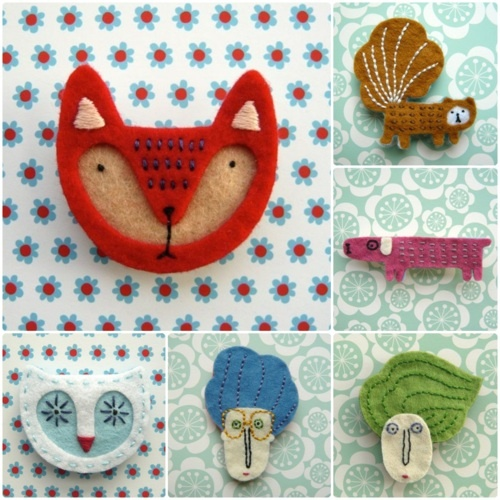 ✄ A Fondness for Felt ✄  DIY craft inspiration:  Felt Brooches from theboxofbirdsshop