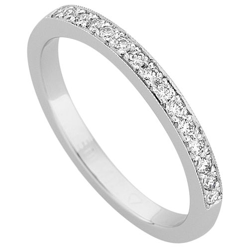 White Gold Grain Set Diamond Band C891