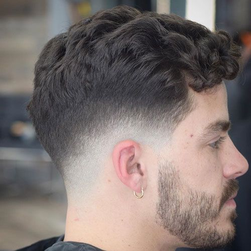 Curly Hair Fringe with Low Bald Fade and Beard