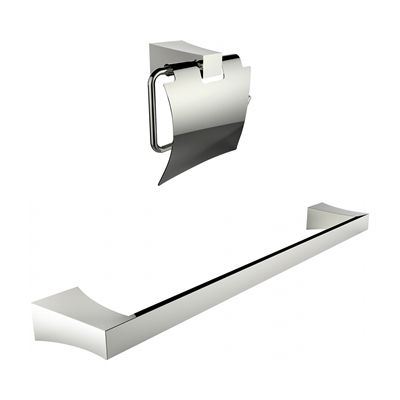 American Imaginations AI-13329 Chrome Plated Toilet Paper Holder with Single Rod Towel Rack Accessory Set