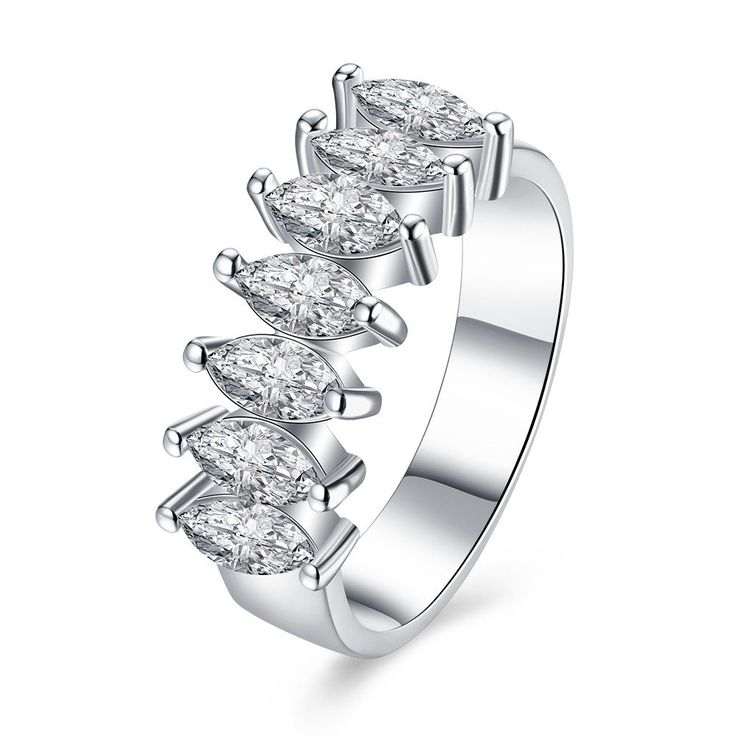 Sweet Wedding Ring Platinum Seven Oval Rhinestone For Women
