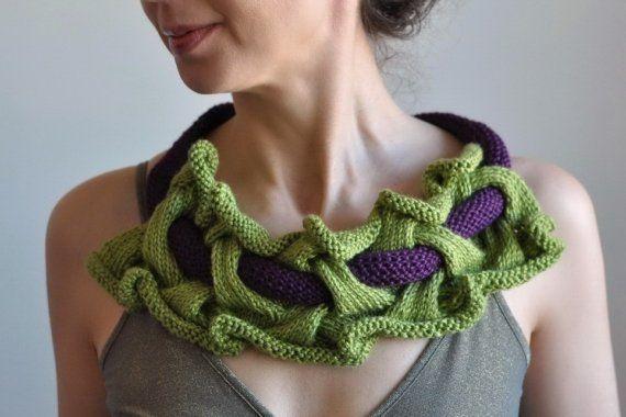 Primavera - handknit bib necklace designer neckwear fiber art jewelry by EveldasNeverland, $90.00
