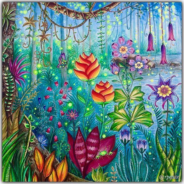 WEBSTA @ rpenze - Magical Jungle - Johanna Basford - pagina dupla / pag da esquerda em close pra vc ver melhor os detalhes - material utilizado : aquarelas, colorgel , poscas, aquareláveis  #johannabasford #rpenze #magicaljungle #selvamagica #livrosdecolorirparaadultos #coloringforadults #watercolor