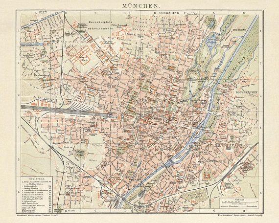 München / Munich Antique Map Reproduction / Old Map Print of Munich - handmade paper print.