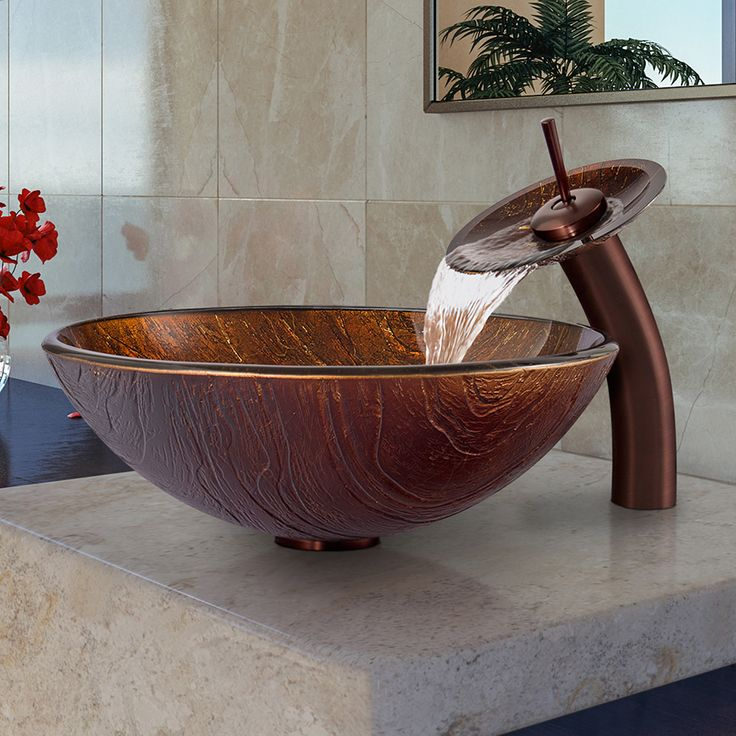 vigo brown and gold fusion glass vessel sink and waterfall oil rubbed bronze faucet set overstock shopping great deals on vigo bathroom sinks