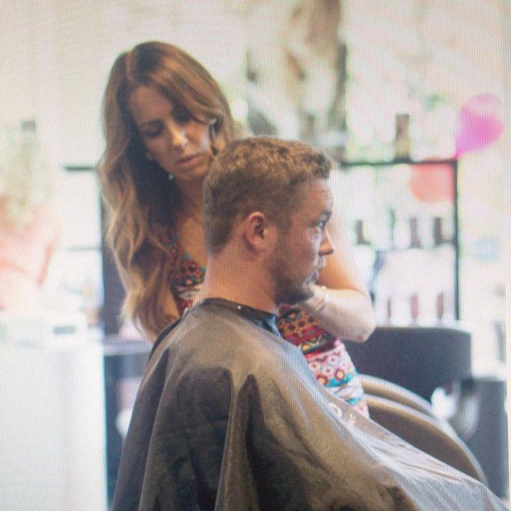Vanessa doing what she does best! Cutting hair! #menscut #haircut #style #hairlife #hairstylist #kelowna #okanagan #ilovemyjob #crimson #hairjoi #joico @veino photography by @tikamichelle
