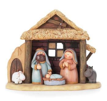 """Nativity for Children with Holy Family and animals in Creche. Size 5-3/4"""" height."""