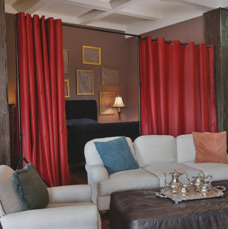 Red Premium Heavyweight Room Divider Curtains - Open