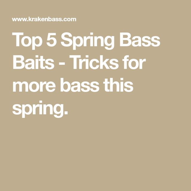 Top 5 Spring Bass Baits - Tricks for more bass this spring.