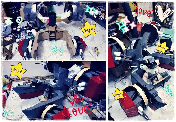 Prinz Eugen's props that i made :33 just some old photos like Before&After so you guys can see how i made it  hope it help i used cardboard foam eva ... to make this XD it was my 2nd ship that i built after Yuudachi's ship so i still had a lots to learn :'3 (after this i did make #amatsukaze and #sendai props) #cosplay #cosplayer #prinzeugen #prinz_eugen #kancolle #kantaicollection #cosplayprops #diy