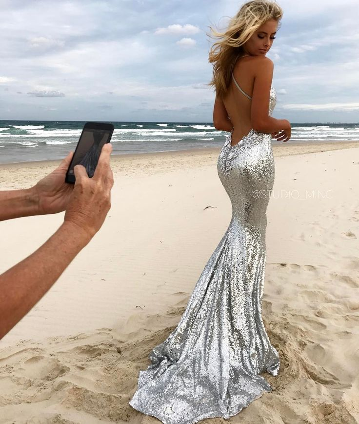 Silver Angel backless formal/ prom dress by STUDIO MINC